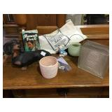 Plastic dog, stamps, glass block, Hawaii Five-0