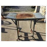 Metal desk, rusted