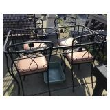 Patio table, no top and four chairs