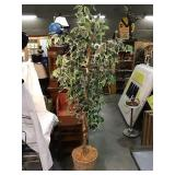 Artificial tree in basket planter, 77 inches tall