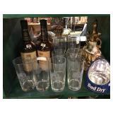 Bud dry display, John Deere etched glasses,