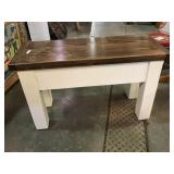 Painted wooden bench with stained top, 32 x 12