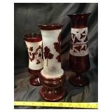 Three red glass cut to clear vases