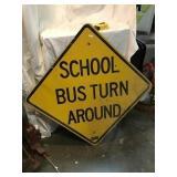 School bus turn around aluminum sign, 24 inch