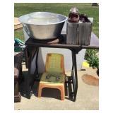 Dish pan, fishbowl, insulators, child chair,