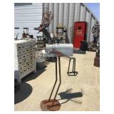 Repurposed metal art, Bird, 72 inches tall