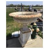 Large two piece metal urn, and 42 x 48
