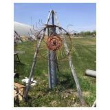 Tripod, rake wheel, galvanized tube