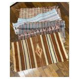Hand Woven Native American Pattern Rug Damaged