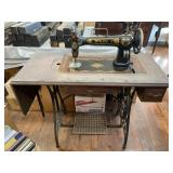 White Sewing Machine And Table