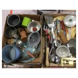 Kitchen Utensils, Tin Cups, Enamel Ware