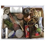 Enamel Scoop, Flashlight, Copper Mug, Opera