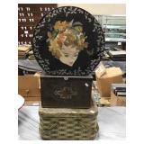 Hat Box, 2 Tins