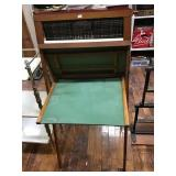 Slated Black Board Desk With Educational Paper