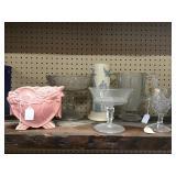Pedestal Dishes, Pitcher, Stemware, Heart Vase