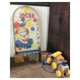 Jocko Pinball Game, Wooden Train Missing Back