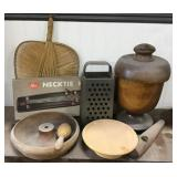 Fan, Wooden Compote With Lid Chipped, Grater,