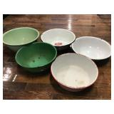 5 Enamel Mixing Bowls