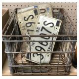 License Plates And Metal Crate