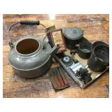 Kettle, Tin Measuring Cup, Tools