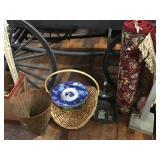 Rug, Baskets, Dust Pan, Snowman Platter