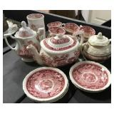 Red Transferware Tea Set