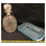Pressed Glass Decanter, Blue Bubble Dish