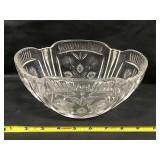 Pressed And Etched Glass Deep Dish
