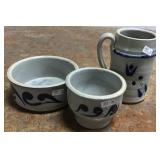 Hand Painted Pottery Bowl, Mug And Cup