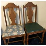 Pair of wooden padded chairs.