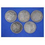 Five Morgan Silver Dollars, 90% Silver