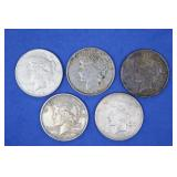 Five Peace Dollars, 90% Silver