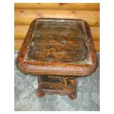 End Table with Pheasant Carving