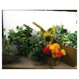 Box of Flowers and Baskets of Greenery