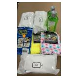 3-baby wipes, 2-2pks microfiber cloths, 1 handy