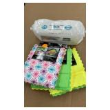 100ct baby wipe and 3-2 pks microfiber dish cloths