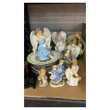 Collector plates, ceramic figurines, plate holders