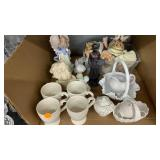 Misc lot figurines, mugs, milk glass basket