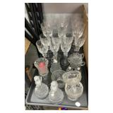 Glass goblets, wine glasses mini decanter pitchers