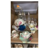 Blue glass, tea cups, salt/pepper shakers, piggy