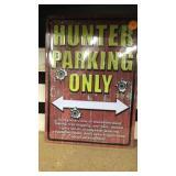 Hunter parking only metal tin sign