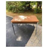 """METAL AND WOOD TABLE APPROX 40X30"""""""