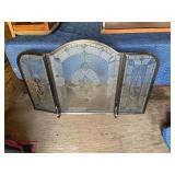 HEAVY GLASS AND METAL FIRE SCREEN