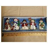 5 glittering snowman ornaments