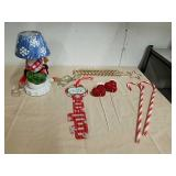 Decorative snowman table lamp with candy canes,