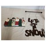 Metal Let It Snow sign and wood Santa and Snowman