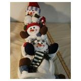 Stuffed snowman stacking decor