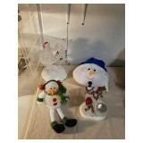 Glass Christmas statues with Snowman shelf sitter