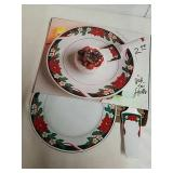 Two-piece 11 inch poinsettia cake plate and