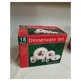 18 piece poinsettia porcelain dinnerware set